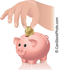 Savings - The hand throws a coin in a piggy bank. Contains...