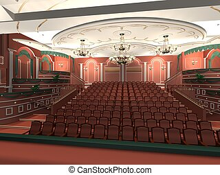 Luxury audience hall3d rendering