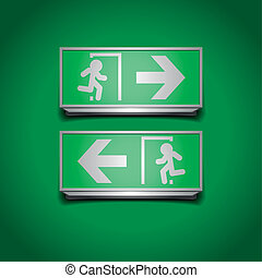 emergency exit signs - detailed illustration of emergency...