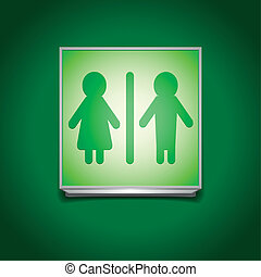 restroom sign - detailed illustration of a green restroom...