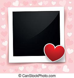 valentine photo frame - detailed illustration of a retro...