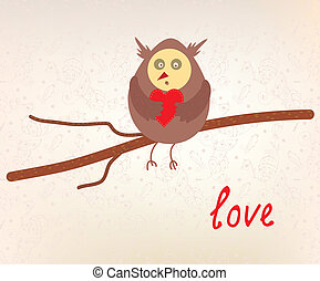 Owl love valentine card funny design