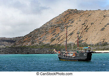Pirate Ship - A modern day pirate ship cruises the Galapagos...