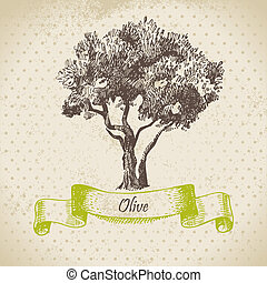 oliva, albero, mano, disegnato, illustrazione