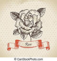 Rose. Hand drawn vintage design