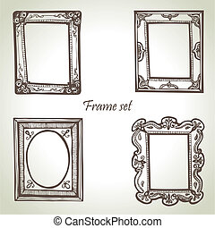 Frame set. Hand drawn illustrations