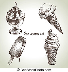 Ice cream set. Hand drawn illustrations