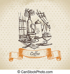 Still life with coffee Vintage hand drawn illustration