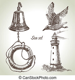 mar, jogo, náutico, desenho, elementos, mão,...