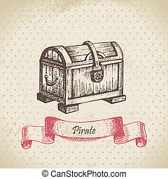 Treasure chest Hand drawn illustration