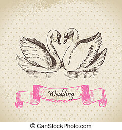 cigni, matrimonio, mano, disegnato, illustrazione