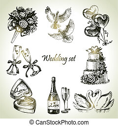 matrimonio, set, mano, disegnato, illustrazione