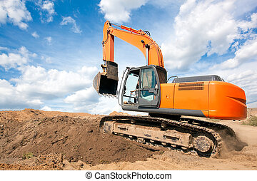 Excavator moves with raised bucket - Excavator machine moves...