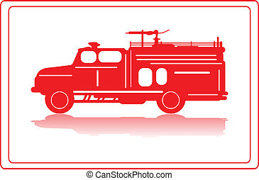 Fire truck - A fire truck in red silhouette