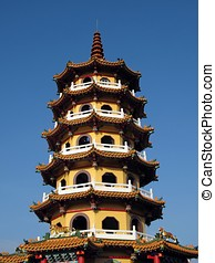 Tall Pagoda - -- the Autumn Pagoda in the city of Kaohsiung,...
