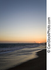 Point Mugu, CA - Beach at Sunset above Point Mugu near...