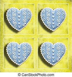 four blue hearts on a yellow background