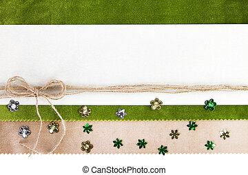 Empty banner on green textile background