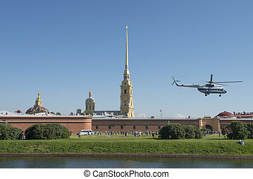Sankt Petersburg - Helicopter take-off in the Peter and Paul...