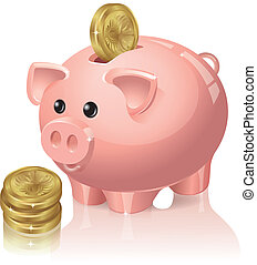 Piggy bank and coins - Piggy bank with coins falling into...
