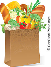 Paper bag with food - Illustration of paper bag with food....