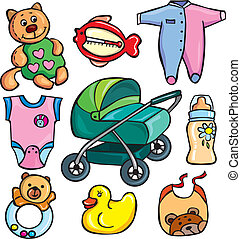 Newborn accessories icons set