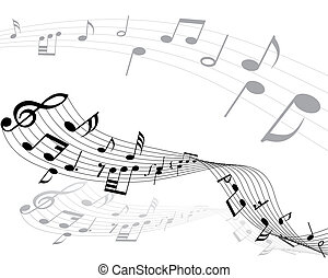 musical notes - Musical notes background with lines Vector...