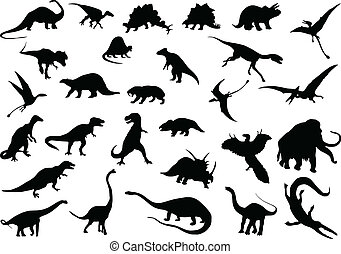 Vector dinosaurs - Vector silhouettes of dinosaurs and other...