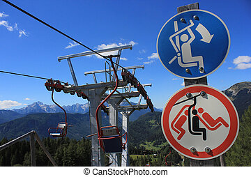 chairlift signs - Skilift with chairlift signs, Spanov vrh,...