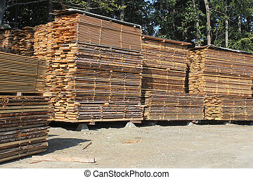 Stacks of timber planks