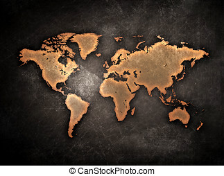 grunge world map - vintage grunge world map globe isolated...