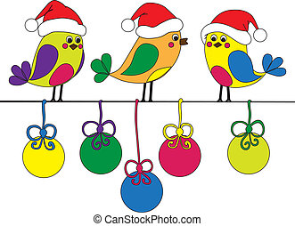Hand-drawn funny christmas birds with colored christmas...