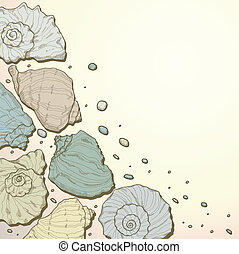 Hand drawing seashell background - Beach background with...