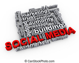 Social media wordcloud - 3d Illustration of social media...