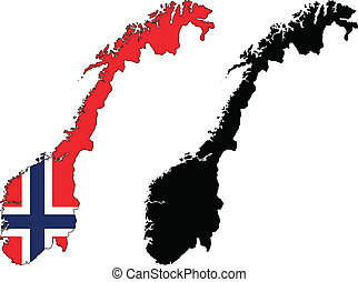 Norway - Vector illustration map and flag of Norway