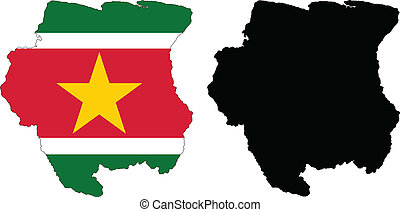 Suriname - Vector illustration map and flag of Suriname