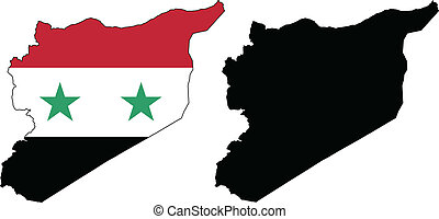 Syria - Vector illustration map and flag of Syria