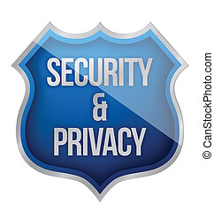 Security and Privacy Shield illustration design over white