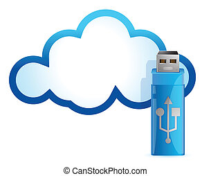 cloud computing USB flash drive illustration design