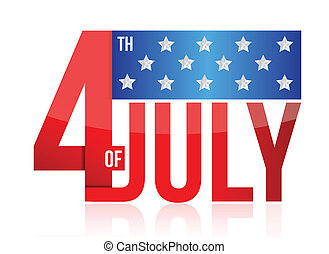 4th of july sign illustration design over white