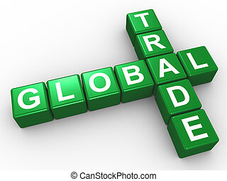 Crossword of global trade - 3d illustration of crossword of...
