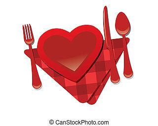 Fork, heart, knife - valentine's day restaurant