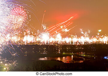 Amsterdam New Year - Fireworks over Amsterdam at New Year...