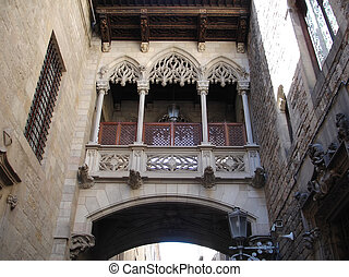Barcelona Gothic quarter - Barcelona: neogothic bridge at...