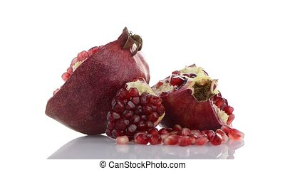 Half pomegranate fruit - Broken half pomegranate fruit on...