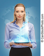 woman with tablet pc - bright picture of woman with tablet...