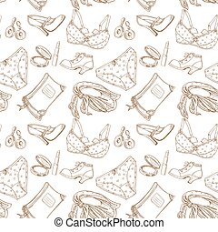 Seamless pattern of female subjects - underwear, cosmetics,...