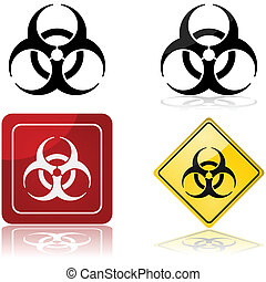 Biohazard sign - Icon set showing a biohazard sign in four...