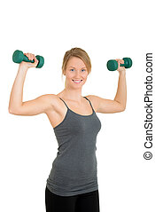 woman with free weights and motion - isolated woman with...