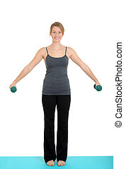Young blond with free weights - isolated Young blond with...